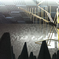 anechoic room with ferrite tiles, cones and a large log periodic antenna